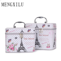 MENGXILU Flower Printed Luxury Cosmetic Bag Professional Makeup Bag Travel Organizer Case Beauty Necessary Make Up