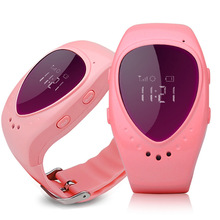 New Pink A6 GPS tracking tracker watch phone for kids children gps bracelet google map sos button, free apps gsm gps locator