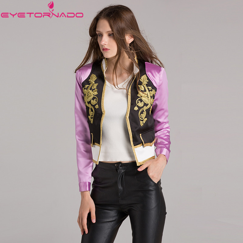 Women autumn   jacket   gold flower embroidery short baseball biker bomer   basic     jacket   Slim casual   jackets   outwear 7280