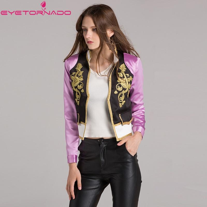 Women autumn   jacket   gold flower embroidery short baseball biker bomer   basic     jacket   Slim casual   jackets   outwear 7280