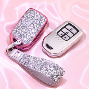 Image 2 - מלאכותי קריסטל מפתח case כיסוי מפתח מקרה מגן פגז מחזיק עבור הונדה Vezel העיר סיוויק ג אז BRV BR V HRV ילדה גברת מתנה