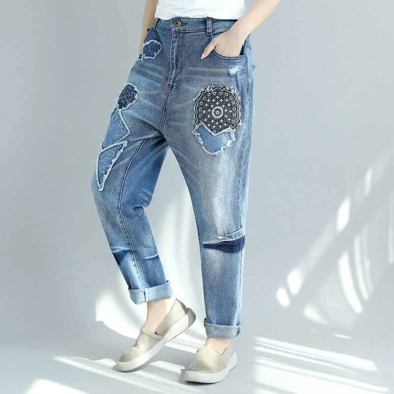 Harem Elástico Otoño Mujer Vaqueros Más Tamaño Hip Ripped Cintura 2018 Hop Nuevo Para Mujeres Primavera Impresión Pantalones Denim 1 xvaaBSnqWw