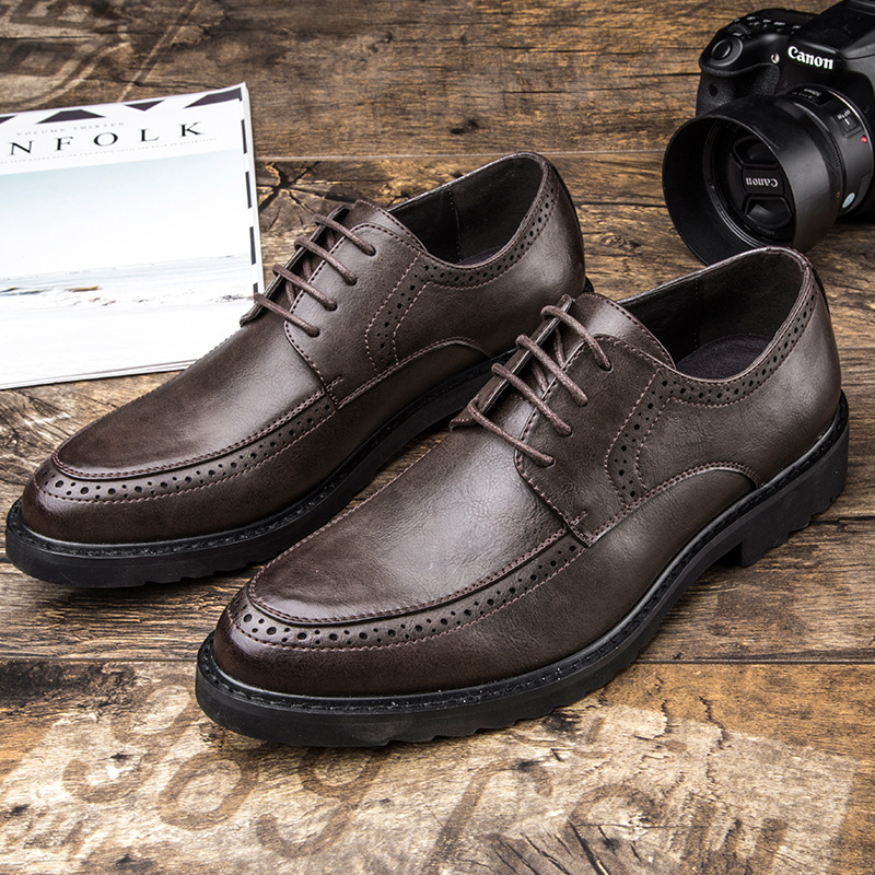 New Genuine leather high quality Lace up men
