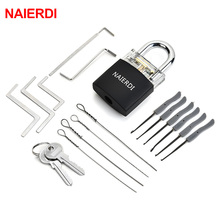 NAIERDI Practice Padlock Locksmith Tools Tension Wrench Visible Lock Pick Set With Broken Key Removing Hooks Supplies Hardware axk transparent visible pick cutaway practice padlock lock with 12pcs blue broken key removing hooks lock locksmith tool