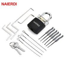NAIERDI Practice Padlock Locksmith Tools Tension Wrench Visible Lock Pick Set With Broken Key Removing Hooks Supplies Hardware цена