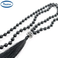 Tassel Pendant Necklace Buddha Head Gun Black 8 Mm Agate Stones Handmade Knotted Beaded Mala Jewelry