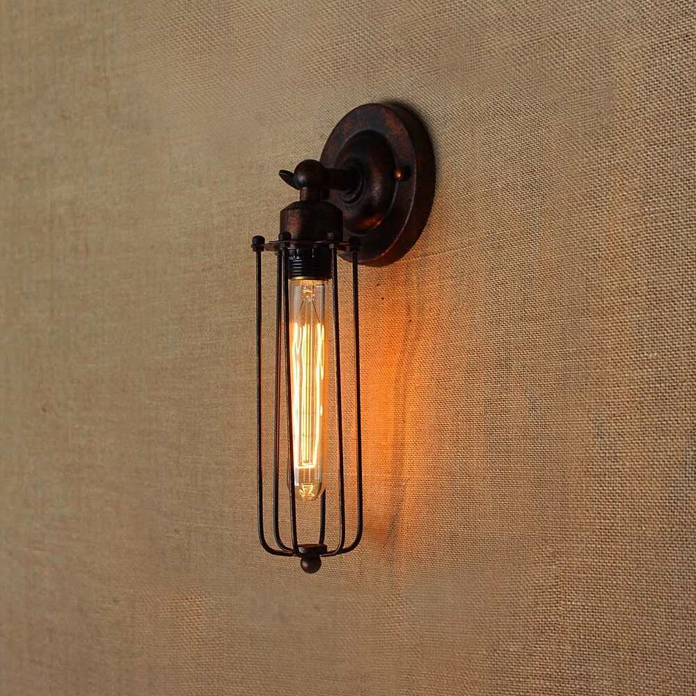 Image 4 - Vintage Industrial Wall Light,Rust Wall Lamp,светильник бра,Loft wall sconce Light Fixture,180°Adjustment,lampshade Up and downLED Indoor Wall Lamps   -