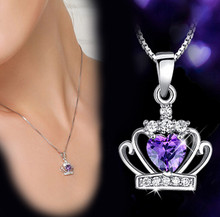 Anenjery 925 Sterling Sliver Necklace Queen Princess Crystal Crown Zircon Heart Pendant Neckace For Women 45cm Chain S-N98(China)