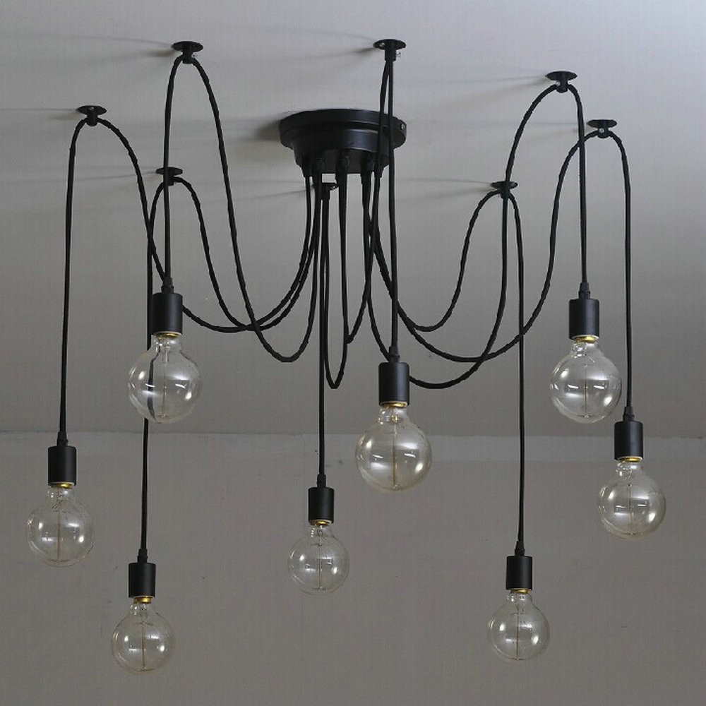 e27 ac 110v 220v loft retro big spider chandelier lighting diy 6 8 10 12 14 lights vintage black chandeliers modern e26 lamps Free shipping 6/8/10/12/14 Nordic Retro Edison Bulb Chandelier Vintage Loft Anti que Adjustable DIY E27 Spider Chandelier