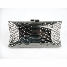 1469 Snake pattern Gun metal case Lady Fashion Bridal Party Night clutch bag Evening purse handbag