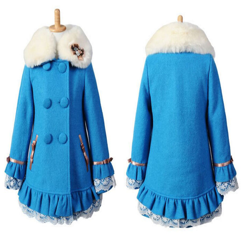 Winter 2019 Fashion Lace Double-breasted Winter Girl Wool Coat Big Fur Collar Thick Coat For Girl Wool & Blends Fit 6-13Y