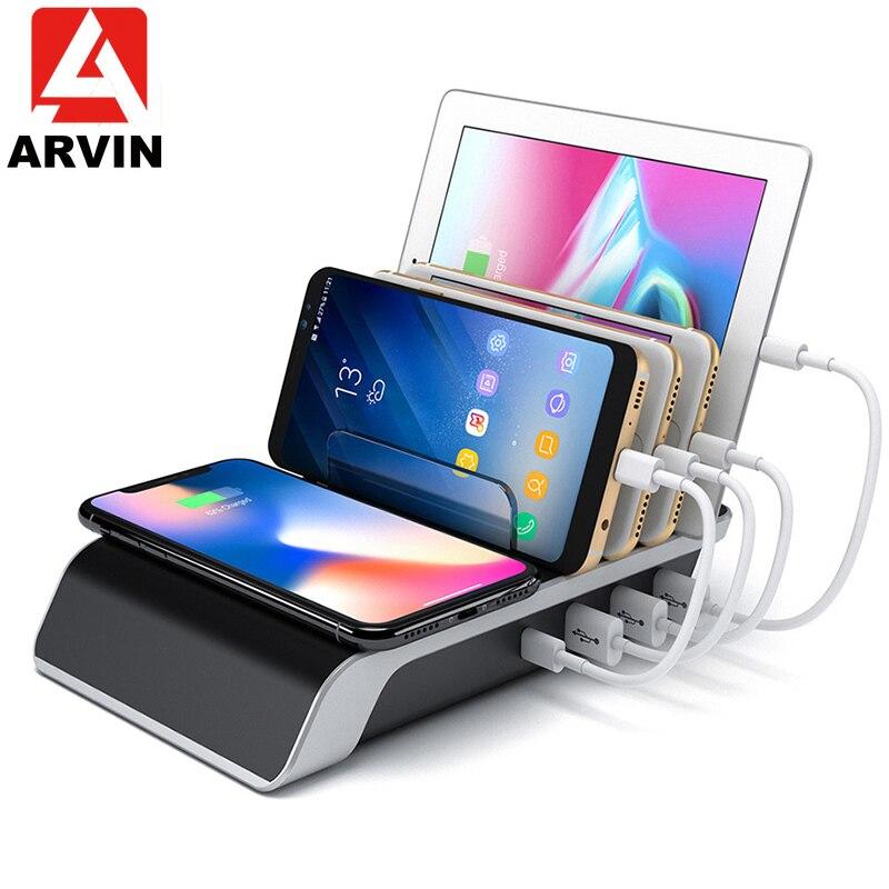 Chargeur rapide sans fil ARVIN pour iPhone Samsung QC 3.0 chargeur rapide Multi USB Station de chargement bureau organisateur de téléphone portable