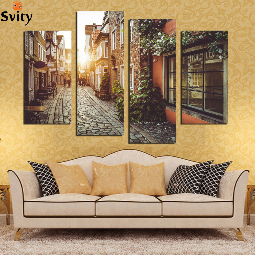 London urban street building landscape City Landscape Scenery Fabric Silk Posters And Prints for Home Decor