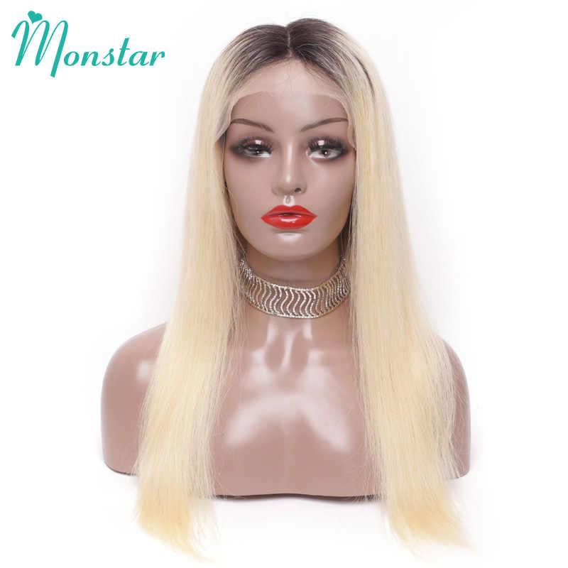 13x6 pré arrancadas 1b 613/613 frente do laço peruca de cabelo humano 150% densidade 26 polegada loira brasileira remy peruca reta para preto