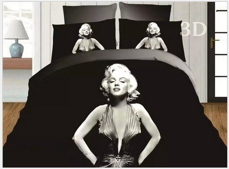 ⑤3D Marylin Marilyn Monroe ropa de cama negro y blanco edredón