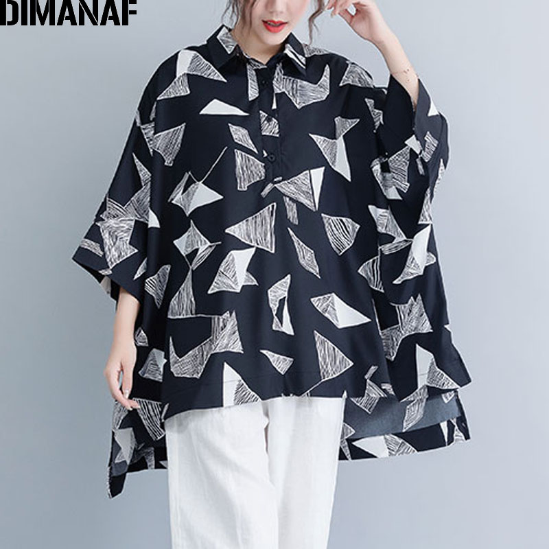 DIMANAF Plus Size Women   Blouse     Shirts   Lady Tops Tunic Summer Print Geometric Big Size Loose Casual Batwing Sleeve Female Clothes
