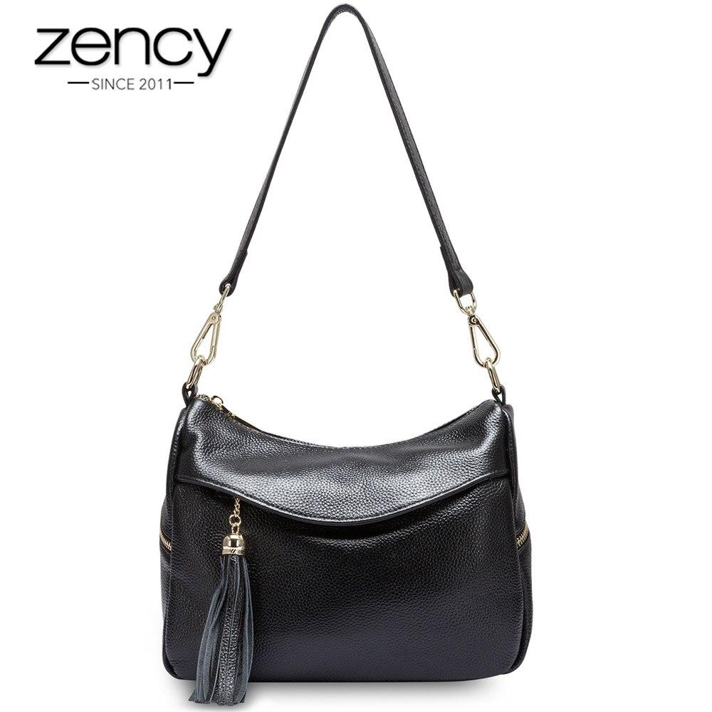 Zency 100% Genuine Leather Fashion Women Shoulder Bag Tassel Charm Ladies Messenger Elegant Handbag bolso hombro de las mujeres