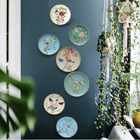 European Creative Ceramic Plate Decorative Wall Hanging Plate Simple Blue Background Point Wall Hanging Crafts Handmade Metal