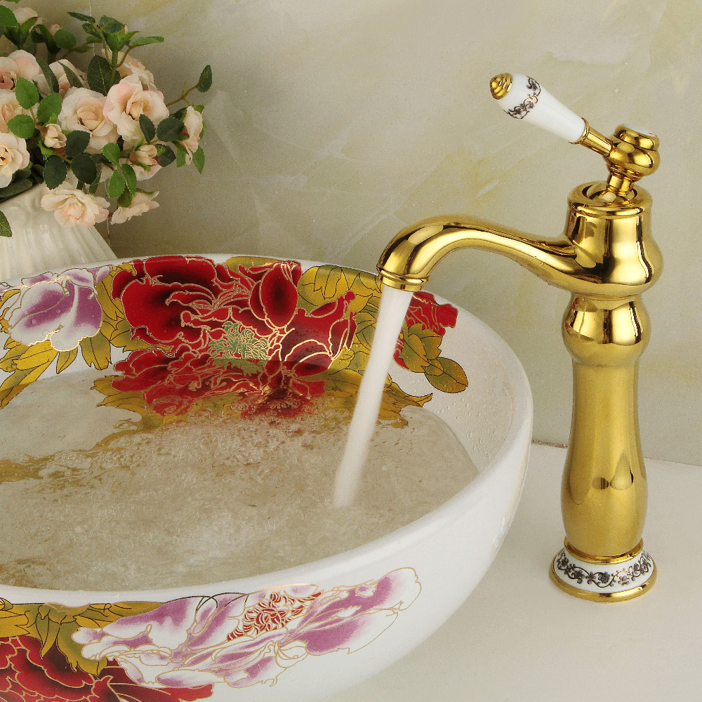 Deck mounted gold bathroom sink faucets single white ceramic handle basin tap G1096