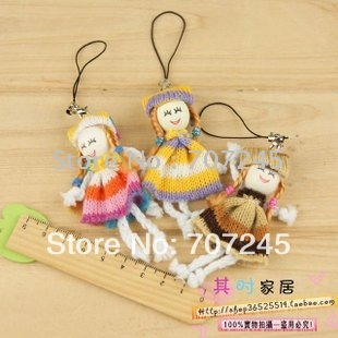 Free ship!!!!hot!!! 50 pc one lots!!Cute wool girl  mobile phone chain/cell phone chain/phone pendant/wool girl hanging