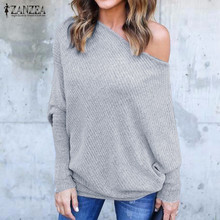 ZANZEA Women Sexy Off Shoulder Blouses Shirts 2017 Autumn Long Batwing Sleeve Slash Neck Blusas Casual Solid Pullover Tops