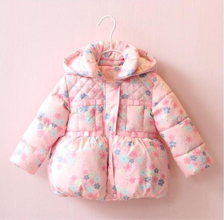 YP311790105 2017 Winter Girl Jacket Floral Hooded Appliques Bow Girl Coat Fleece Worm Kids Jacket Girls Clothes Girls Jacket bow back hooded jacket