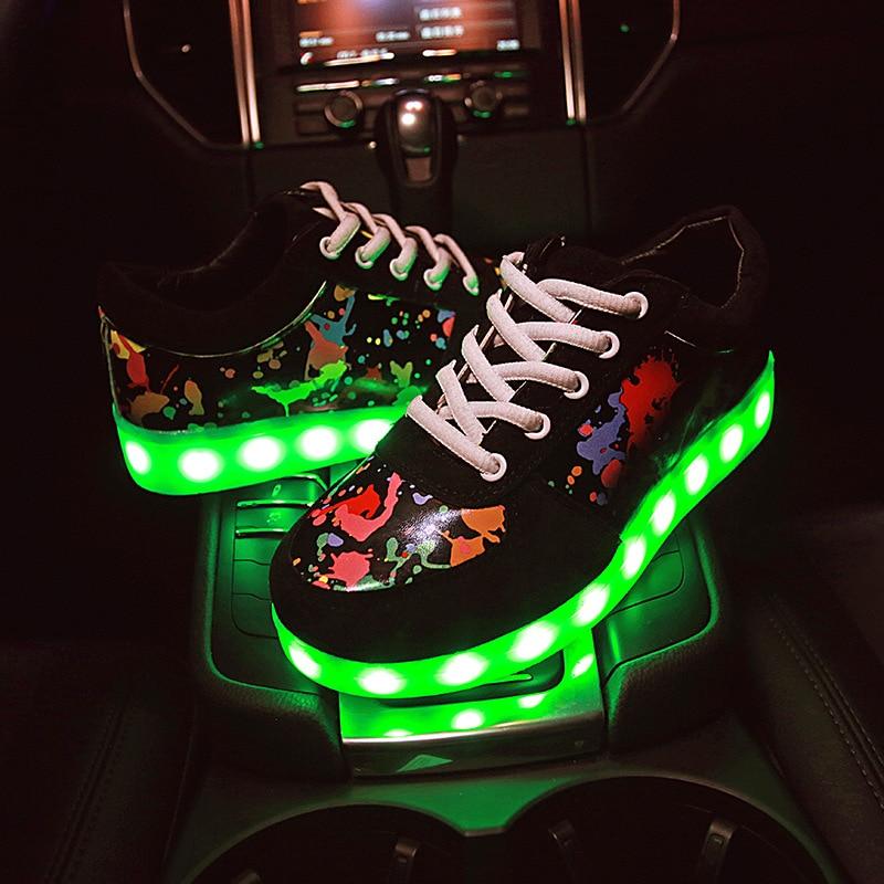 سایز 35-45 کفش ورزشی درخشان کفش بچه گانه کفش بچه گانه با چراغ روشن LED دمپایی پسران دخترانه کفش Lumineuse کفش ورزشی درخشان