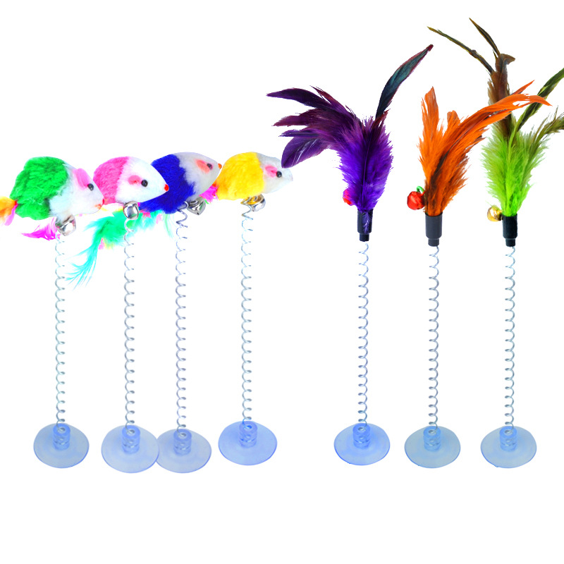 1PC 2 Types Funny Cat Toys Elastic Feather False Mouse Spring Sucker Toys For Cat Playing Pet Toy Training