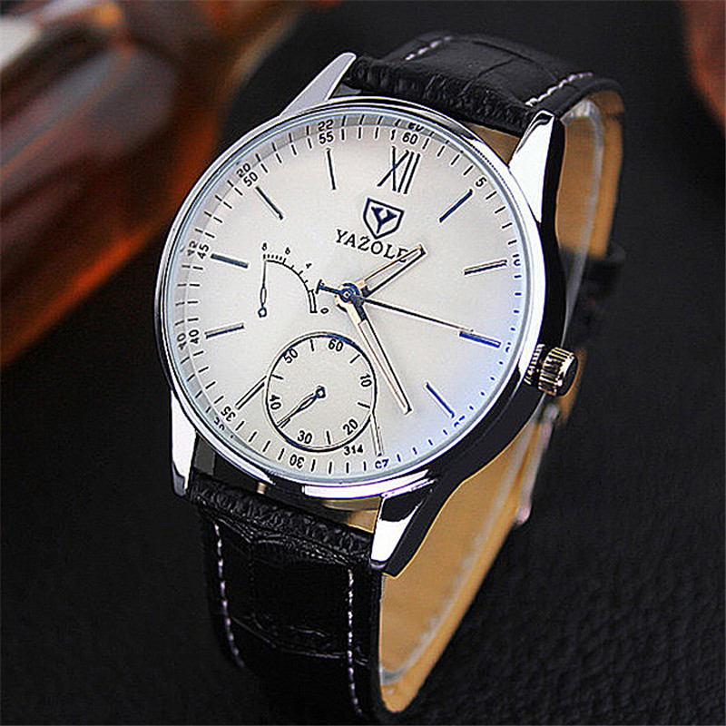 YAZOLE NEW Luxury Brand Lovers Watches Men And Women Leather Round Dial Clock Waterproof Blue Glass Stopwatch Quartz Men's Watch