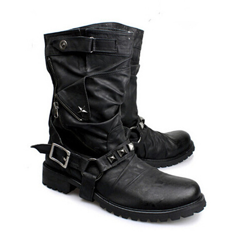 British New Style Retro Leather Motorcycle Boots Rivets Buckle Mid-calf Men Boots Military Combat Boots Shoes Men Winter Boots mabaiwan handmade rivets military cowboy boots mid calf genuine leather women motorcycle boots vintage buckle straps shoes woman