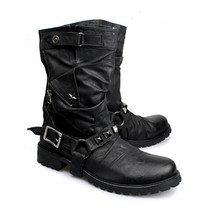 British New Style Retro Leather Motorcycle Boots Rivets Buckle Mid-calf Men Boots Military Combat Boots Shoes Men Winter Boots