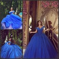 2017 Princess Quinceanera Платья С Плеча Королевский Синий Бальное платье Из Органзы Пром Платья Сладкая 16 Платья