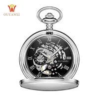 Zakhorloge Met Ketting fullmetal alchemist OUYAWEI Rvs Mechanische Zakhorloge voor Man en Vrouwen Waterdichte Horloges