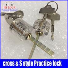 Cutaway cruz Lock cerradura transparente formación habilidad profesional visible práctica candados selección de la cerradura para cerrajería