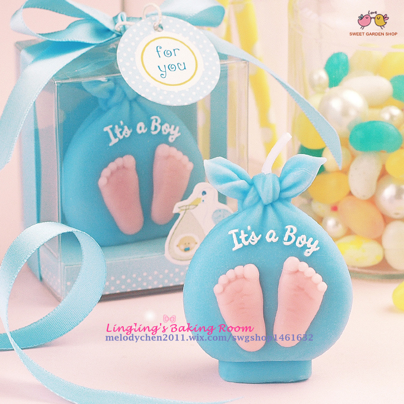 2015 New Little Feet Baby Boy Girl Tag Celebrate Candles For