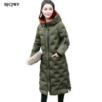 여성 사랑 자수 파카 겨울 재킷 파카 긴 스타일 패션 눈 코트 따뜻한 두께 우아한 슬림 후드 외투