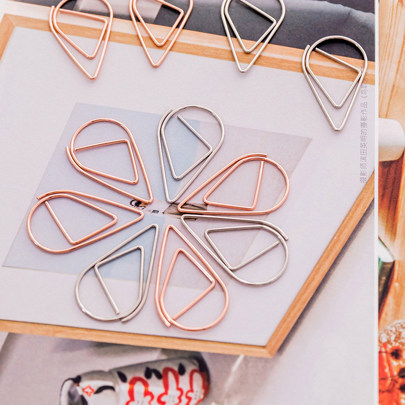 10 Pcs/lot Novelty Water Drop Paper Clips Mini Metal Clips Cute Kawaii Paperclips Gold Korean Stationery School Office Supplies Clips