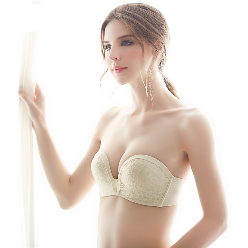 8e7766b34c564 Strapless Bra Sexy Lingerie Brassiere Half Cup Bra Women Seamless Invisible  Bras Sutian Female Underwear Push Up Bra pj8012-in Bras from Underwear ...