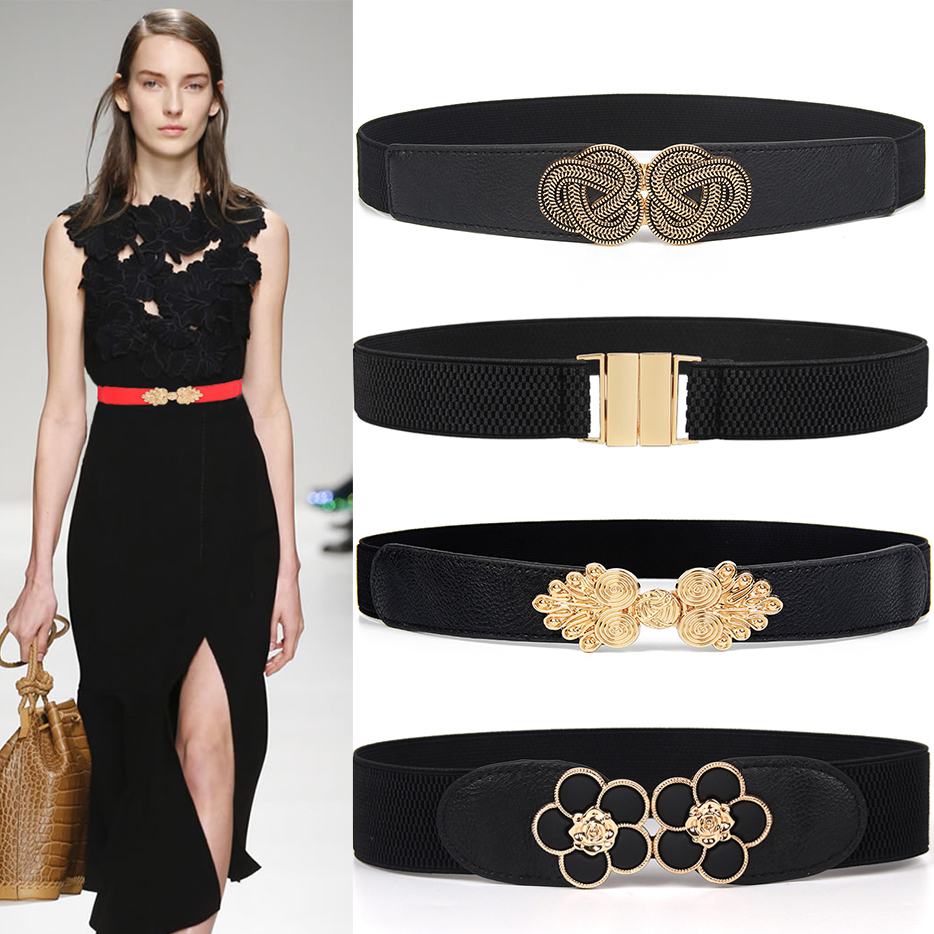 Hot New Women Cummerbunds Elastic Wide Stretch Belt Gold Bukle Waistband Dress Decorate Ceinture Femme Party Cinturones Mujer