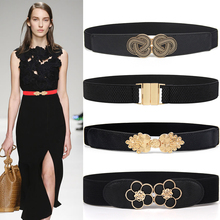 Hot New Women Cummerbunds Elastic Wide Stretch belt gold Buk