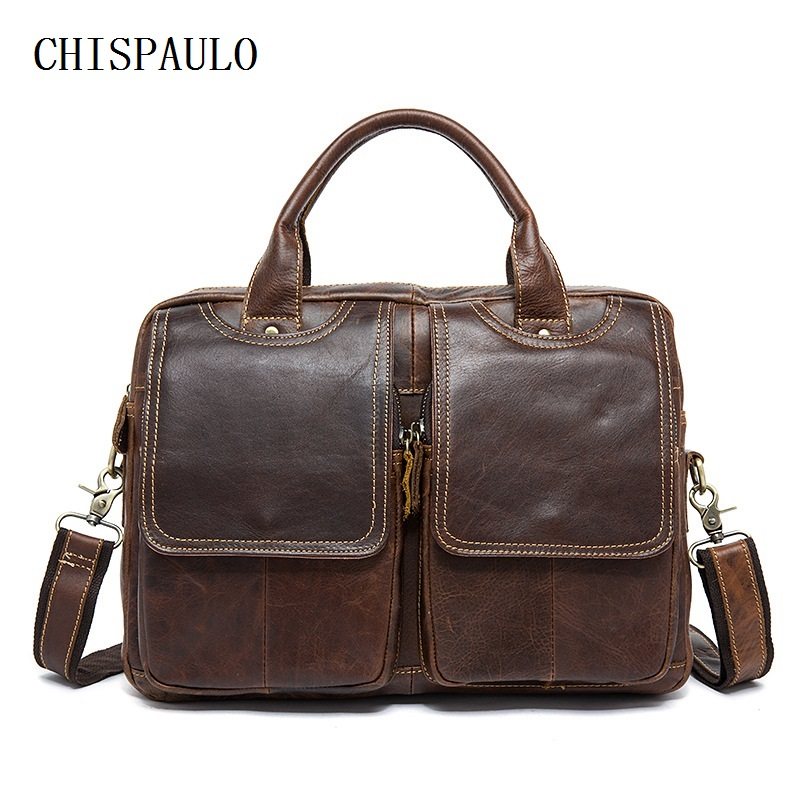 CHISPAULO Genuine Leather Men Bag Men Messenger Bags Briefcase Leather Laptop Bags 14'' leisure men's handbag Vintage new T672 bvp free shipping new men genuine leather men bag briefcase handbag men shoulder bag 14 laptop messenger bag j5