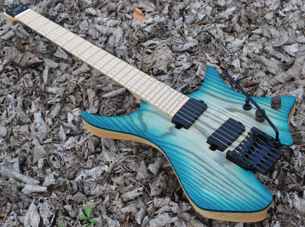 Fanned Fret guitars Headless guitar steinberger style Model Blue burst Color Flame maple Neck in stock Guitar free shipping цена