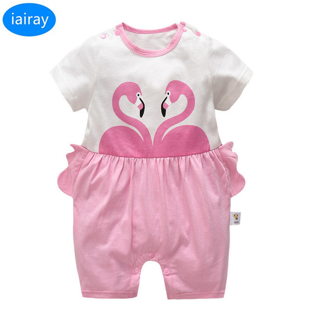 fbd4b76ac0ec iairay newborn baby rompers baby girl summer jumpsuit short sleeve pink  cotton coveralls baby clothing infant clothes wholesale