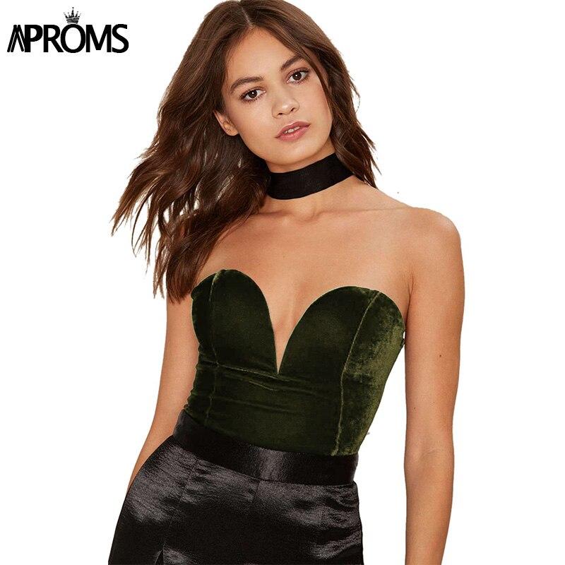 Aproms Sexy Sleeveless Slim Fit Velvet Bodysuit Women V Neck Backless Lace Up Romper   Jumpsuit   Velour Feminino Vestido Roupas