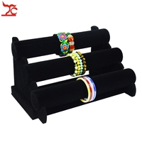 Wholesale Price Jewelry Display Rack Black Velvet Bracelet Bangle Watch Display Holder Three Tier T Bar