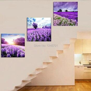 Moden Wohnzimmer Dekorative Malerei Provence Lavendel Rustikalen Landschaft  Spray Malerei Auf Leinwand Drei Panels