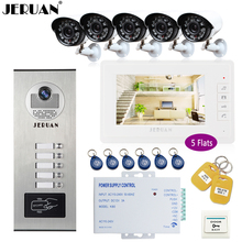 "JERUAN 7"" LCD Video Intercom Doorphone system Kit RFID Access Entry Security Kit For 5 Apartment Camera +5 CCTV Analog Camera"