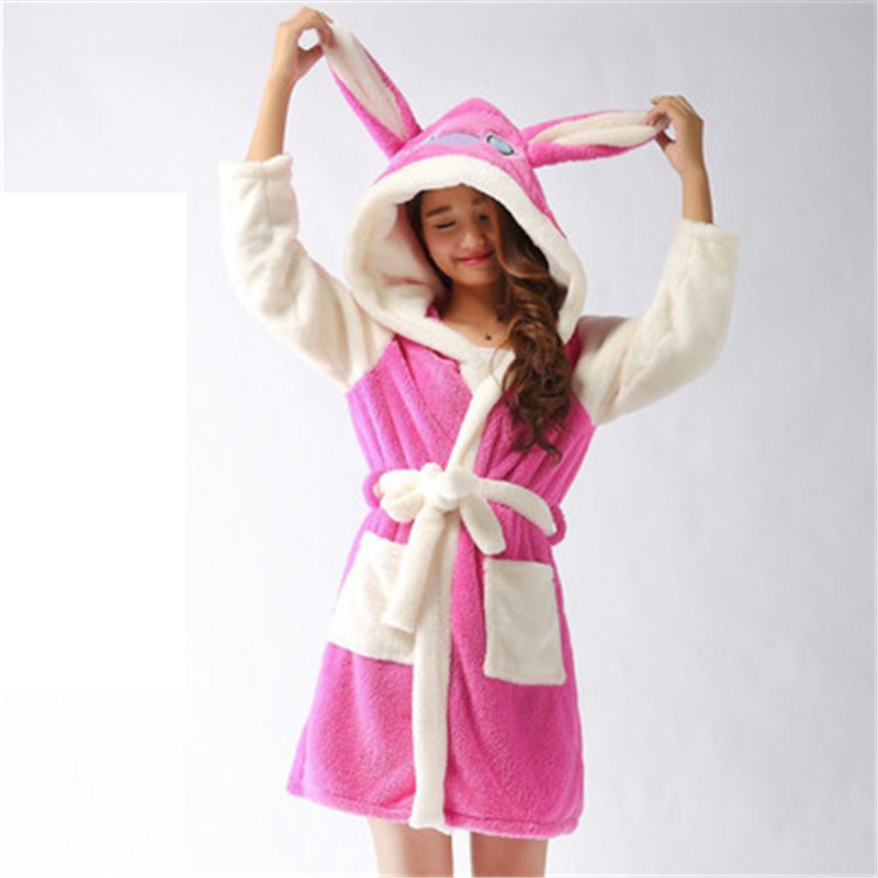 b739ee0fd8 Byronde Winter Autumn Long-Sleeve Pink Rabbit Bathrobes Thickening Home  Casual