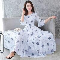 7708d56cda ... tamaño elegante vestidos. Women S Floral Flare Sleeve Swing Dress  Korean O Neck Beach Dress Boho Chic Plu Size