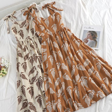 SKOONHEID Women Summer Bohemian Strap Long Dress Korean Print Chiffon Ruched Sundress New Holiday Beach Sleeveless Floral Dress(China)